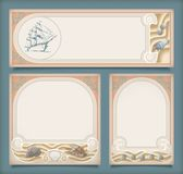 Set of sea vintage vacation frame banners, labels. Set of sea vintage vacation frame banners or labels. Marine collection of retro art deco style backgrounds Stock Images