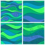 Set of sea waves background Stock Photos