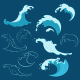 Set of sea waves of different shapes Stock Photo