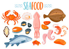 Set of seafod icons in cartoon style. Royalty Free Stock Images