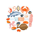 Set of seafod icons in cartoon style, vector. Royalty Free Stock Images