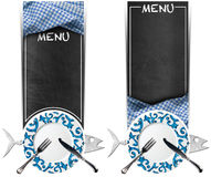 Set of Seafood Banners - Blackboard Menu. Two vertical blackboards with text Menu, metal fish and empty decorated plate with silver cutlery. Isolated on white Royalty Free Stock Photos