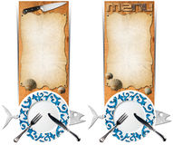 Set of Seafood Banners. Two vertical banners with metal fish, empty decorated plate, silver cutlery, empty parchment on wooden background with kitchen knife and Royalty Free Stock Photos