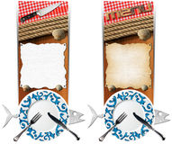 Set of Seafood Banners. Two vertical banners with metal fish, plate with cutlery, empty parchment on wooden background with ropes, kitchen knife, checkered Royalty Free Stock Photography