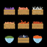 Set of seafood in crates. Set of vector illustration of crate with seafood. Natural, healthy food concept. Fresh sea animals collected in the wooden box. Flat Stock Image