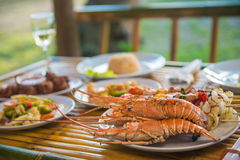 Set of seafood for dinner Royalty Free Stock Photos