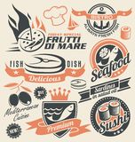 Set of seafood icons, symbols, logos and signs stock illustration