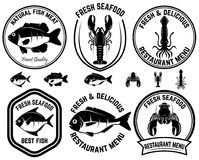 Set of seafood labels. Fish, squid, lobsters. Design elements for logo, label, emblem, sign. Vector illustration Royalty Free Stock Photos