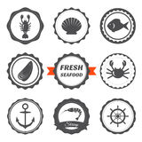 Set of seafood labels. Seafood logos and design elements. Vector illustration Royalty Free Stock Photography