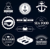 Set of seafood logos. Crab lobster restaurant. Set of seafood logos. Grill, crab, lobster, restaurant logo collection made in vector. Seafood badges, labels and Stock Image