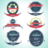 Set of Seafood Logos and Design Elements. Vector Illustrations Stock Images