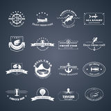 Set of seafood logos. Perfect set of seafood logos. Seafood badges, labels and design elements. Can be used for restaurants, menu design, internet pages design Royalty Free Stock Photography