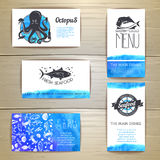Set of seafood menu cards. Corporate identity Royalty Free Stock Photos