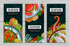 Set of seafood vertical banners. royalty free illustration