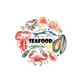 Set of seafood watercolor. Stock Photo