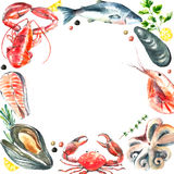 Set of seafood watercolor. Stock Image