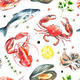 Set of seafood watercolor. royalty free illustration