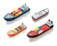 Set of Seagoing Cargo Ships Feeder Vessels. Vector Stock Photo