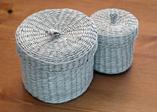Set of seagrass basket Stock Photos