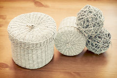 Set of seagrass basket Stock Photo