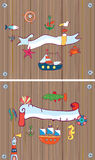 Set of sealife background with frame. With nautical objects. graphic illustration vector illustration