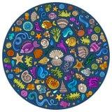 Set of Sealife cartoon doodle objects, symbols and items Stock Photo