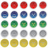 Set of Seals. Illustration of different Seals in red, blue, green, silver and golden colors / Vector Royalty Free Stock Image