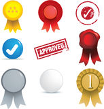 Set of seals, stamps and badges and buttons Royalty Free Stock Photos