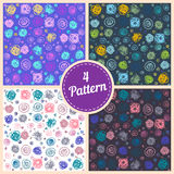 Set of seamless abstract doodle pattern, wallpaper for girl Stock Photography