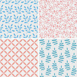 Set of seamless abstract and floral patterns Royalty Free Stock Photos
