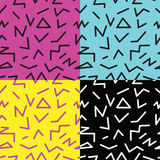 Set of seamless abstract geometric pattern in retro memphis style Royalty Free Stock Photography