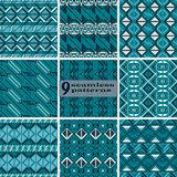 Set of seamless abstract geometric patterns in blue and white co. Set of seamless abstract geometric patterns. Collection of vector prints in blue and white Stock Images