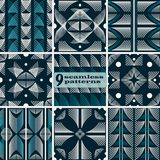 Set of seamless geometric fashion patterns blue and white colors. Set of seamless abstract geometric patterns. Blue and white colors. Contrast fashion vector Royalty Free Stock Photos