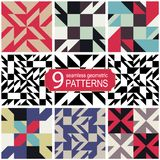 Set of seamless abstract geometric vector patterns in retro color palette. Vintage fashion style Stock Photography