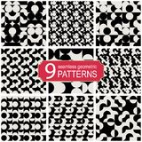 Set of seamless abstract geometric vector patterns. Vintage fashion style Stock Photo