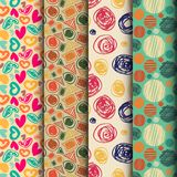 Set of seamless abstract pattern in retro style Royalty Free Stock Image