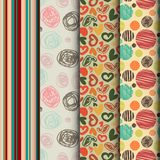 Set of seamless abstract pattern in retro style Royalty Free Stock Photo