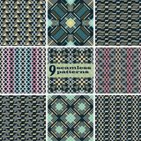 Set of seamless abstract patterns in elegant color palette. Set of seamless abstract patterns. Criss cross and stair step geometric elements in elegant color vector illustration