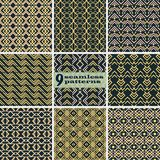 Set of seamless abstract patterns with V shaped elements. Set of seamless abstract patterns with V shaped geometric elements. Black, yellow, dusty pink colors Royalty Free Stock Photos