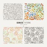 Set of seamless abstract patterns. Wave like amoeba and dotted circles Stock Illustration