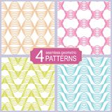 Set of seamless abstract wave lines vector patterns. Vintage fashion style Royalty Free Stock Images