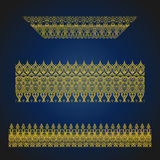 Set of seamless arabic ornate borders on blue background. Vintage hand drawn vector illustration Royalty Free Stock Images