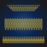 Set of seamless arabic ornate borders on blue background. Vintage hand drawn vector illustration royalty free illustration
