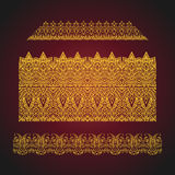 Set of seamless arabic ornate borders on red background. Royalty Free Stock Images