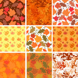 Set of seamless autumn backgrounds. Seamless backgrounds with autumn leaves and pumpkins on orange backgrounds. Vector illustration Royalty Free Stock Photography