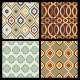 Set of seamless autumn patterns. Abstract  geometric wallpaper. Stock Photography