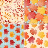 Set of seamless autumn patterns. EPS 10 vector illustration. Contains grunge texture with opacity and blending mode Royalty Free Stock Photos