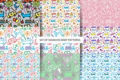 Set seamless Baby patterns. Stock Photo