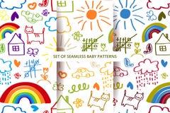 Set seamless Baby patterns. Stock Photos