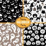 Set of seamless background abstract pattern for halloween with p Stock Image